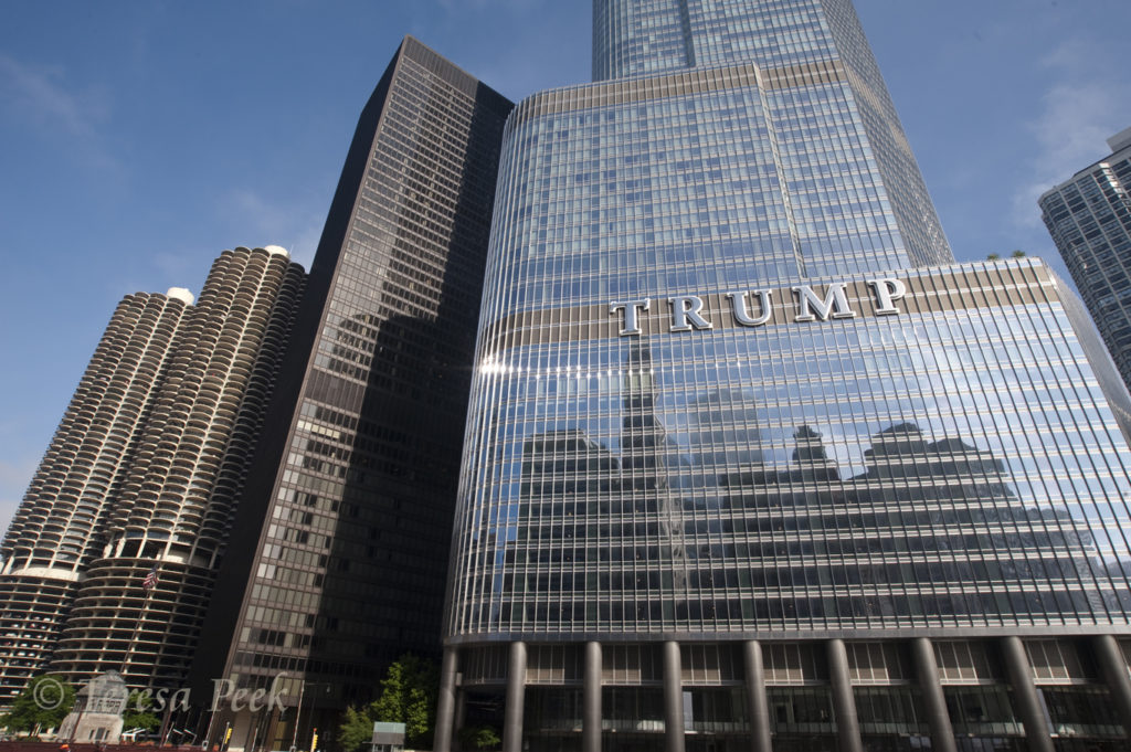 Trump Tower in Chicago's River Walk Skyline